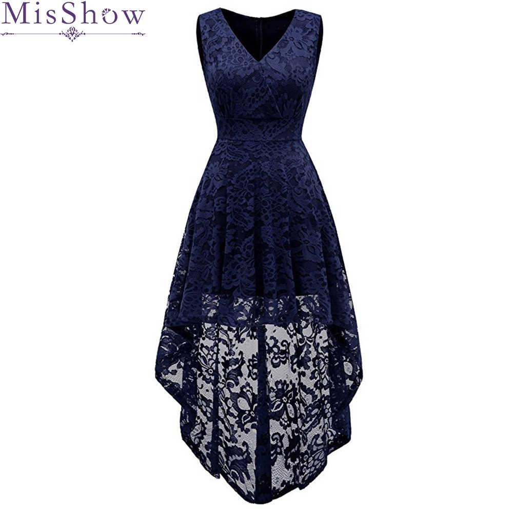 פשוט קוקטייל שמלות תחרה קצר קדמי ארוך חזרה שמלות גבוהה נמוכה V-מחשוף 2019 סקסי נשים אירוע מיוחד שמלה
