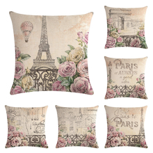 """Наволочки для подушек с принтом """"Париж всегда хорошая идея"""" 45*45 см, дизайн тюльпана, подарки для дома, спальни, дивана, декоративная наволочка"""
