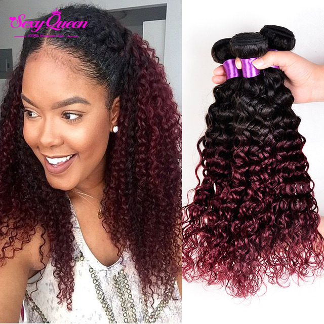 Red Ombre Weave Human Hair Bundles 3 Pcs Lot Wet And Wavy Virgin