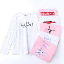 Недорогая рубашка для девочек, розовый и белый топ с длинными рукавами, детская хлопковая рубашка с принтом, спортивная одежда для йоги