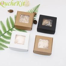 50個クラフト紙キャンディーボックス透明pvcウィンドウ石鹸ケース結婚式クリスマスチョコレートギフト包装ボックス