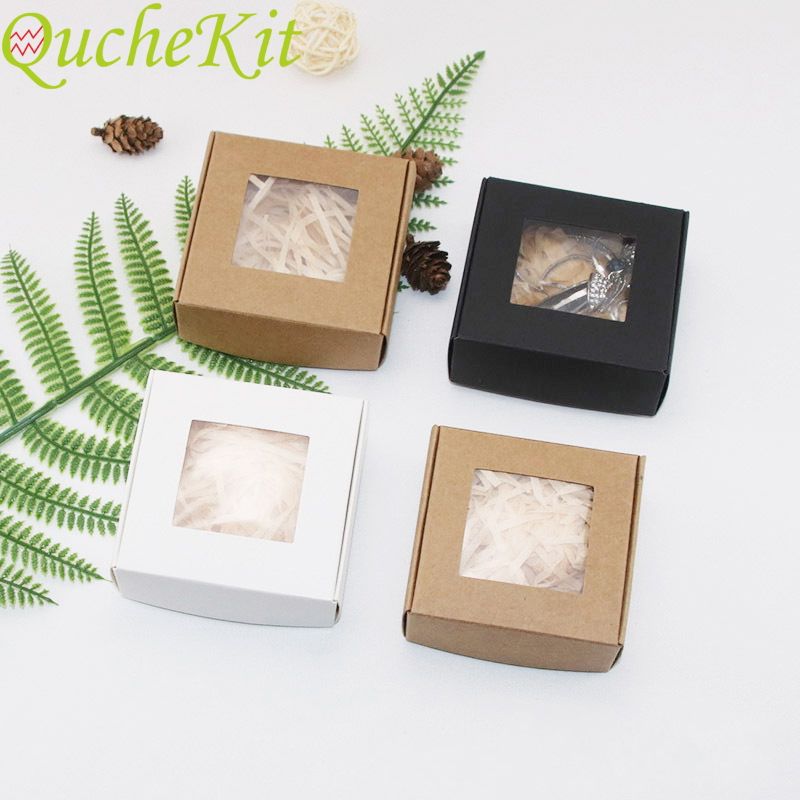 50Pcs Kraft Paper Candy Box Transparent PVC Window Soap Box Wedding Birthday Christmas Baby Shower Chocolate Gift Packaging Box(China)
