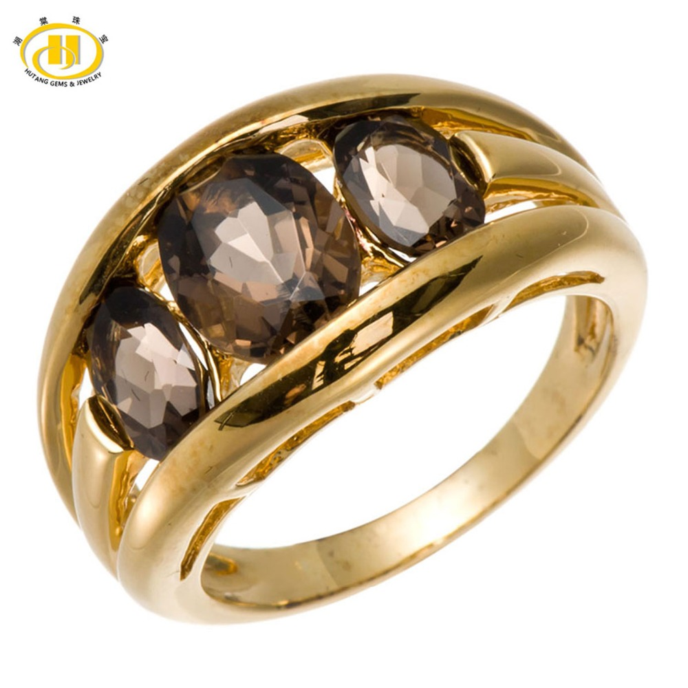 Hutang Brand New Natural Smoke Quartz Solid 925 Sterling Silver Ring Gemstone Fine Jewelry