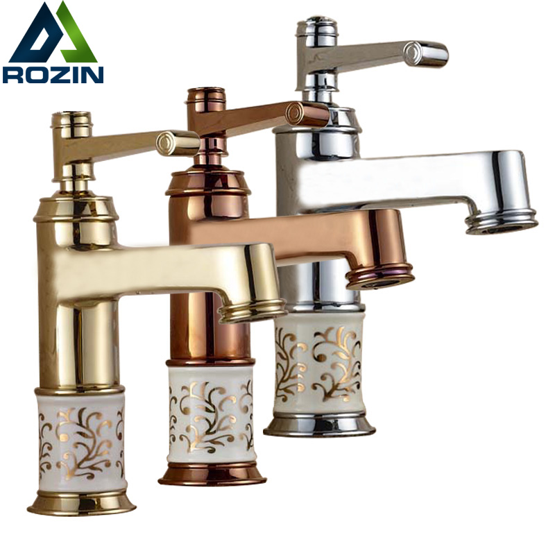 Free Shipping Ceramic Pattern Washing Basin Faucet Brass Single Handle Rose Golden Bathroom Vanity Sink Mixer Crane Taps цена
