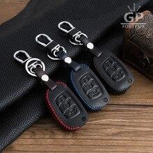 Genuine Leather Car Remote Key Holder Case Cover For Hyundai i20 i30 IX25 IX35 Tucson Verna Solaris Elantra Accent Car Styling