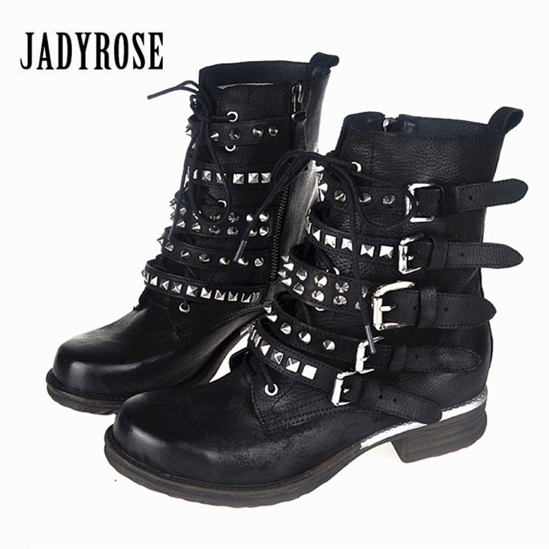 Jady Rose Vintage Women Ankle Boots Rivets Studded Genuine Leather Short Botas Autumn Winter Female Platform Straps Martin Boot