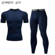 New Fitness Herrenanzug einfarbig Kompressionshemd + Leggings unten Marke MMA Langarm Sport schnell trocknende Kleidung