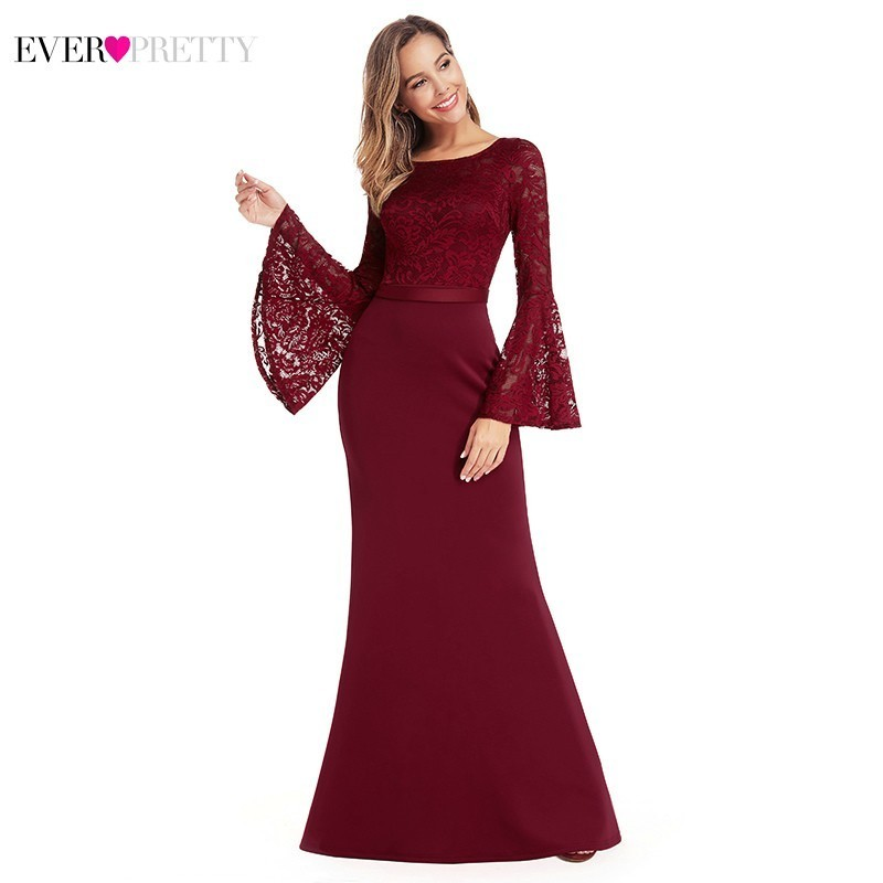 Burgundy Floral Lace Evening Dresses Ever Pretty EP00914BD Mermaid O Neck Flare Sleeve Formal Party Dresses