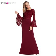 Burgundy Floral Lace Evening Dresses Ever Pretty EP00914BD Mermaid O-Neck Flare Sleeve Formal Party Dresses Abendkleider 2019