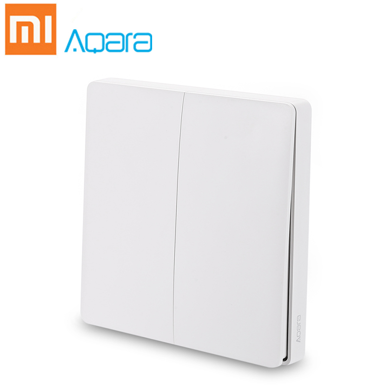Xiaomi Mijia Aqara Wall Switch Smart Light Control Wireless Double Single Key ZigBee Version Home Security APP Remote Control цена и фото