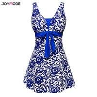 JOYMODE Plus Size Swim Skirt Women S Swimwear One Piece Polka Print Swimwear Retro Suits Large