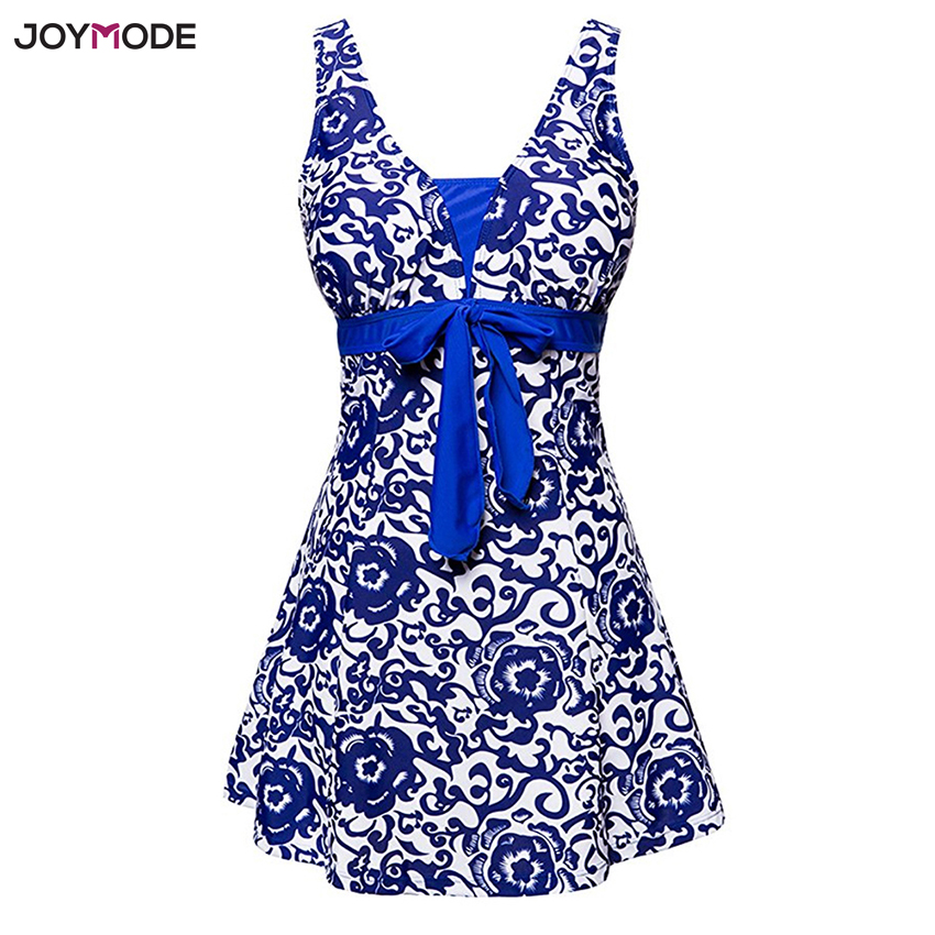 JOYMODE Plus Size Swim Skirt Women's Swimwear One Piece Polka Print Swimwear Retro Suits Large Size Summer Beach Wear Swimsuit plus size lace fringed three piece swimwear
