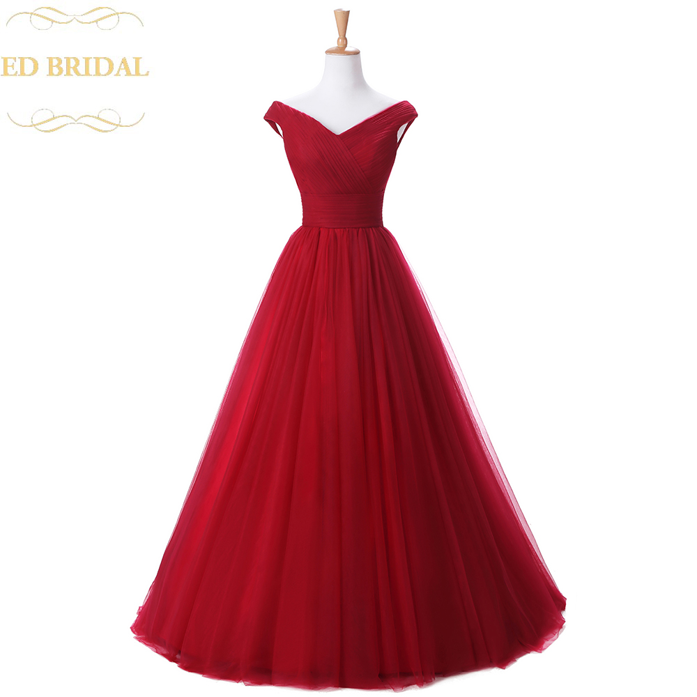 Free Shipping Cheap Long Burgundy Prom Dress Real Sample Off The Shoulder Tulle Formal Party