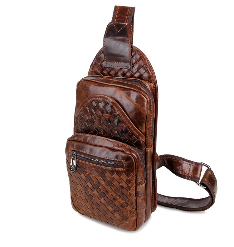 Nesitu High Quality Vintage Coffee 100 Guarantee Real Genuine Leather Women Cowhide Chest Bag Men Messenger