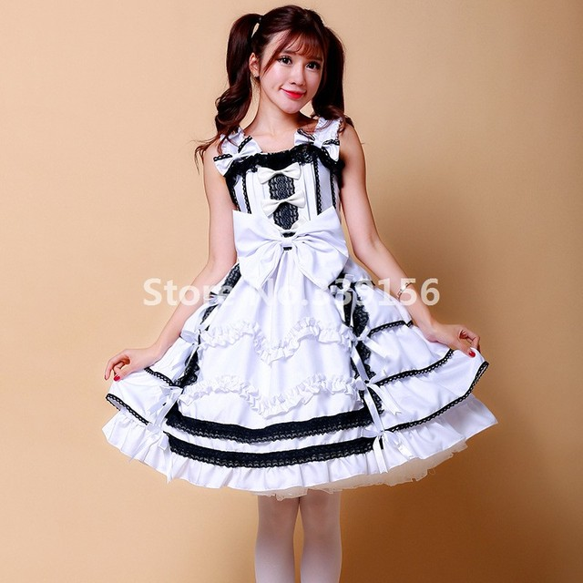 Lovelive Yazawa Nico Anime Cosplay White Ball Gown Maid Dress Gothic Lolita  School Students Dresses Adult Costumes for Women 66754247d123