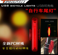 21142 USB Straight Light TECHKIN Mountain Bike Tail Light USB Charging LED Warning Light Night Ride Equipments Red White Light F