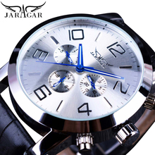 Jaragar Mens Business Dress Watches White Calendar Automatic Sports 3 Sub Dial Leather Strap Mechanical Clock Relogio Masculino