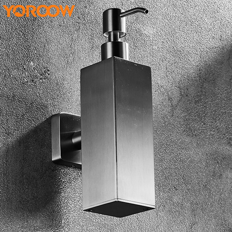 Wall Mounted Bathroom Stainless Steel 304 Hand Soap Dispenser Rectangle Shampoo Shower Bottle High Quality Holder XN0011 стоимость