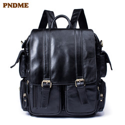 PNDME casual fashion simple genuine leather mens womens backpack soft first layer cowhide outdoor party black bookbag bagpack