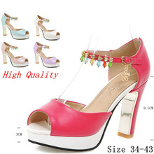 Ankle Strap Platform Pumps Summer Women Peep Toe High Heels Sandals Woman High Heel Party Wedding Shoes Plus Size 34-40.41.42.43