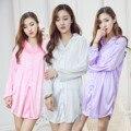 Plus Size Mulheres Camisa De Cetim Noite Nightgowns Sleepshirts Sexy Pijama Sono Camisas para Mulheres Pijamas de Seda Sleepwear
