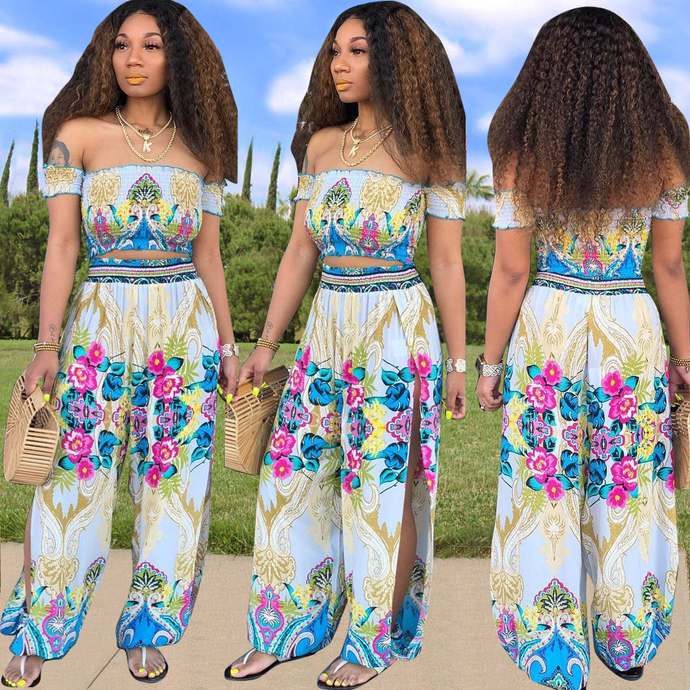 Off Shoulder Slash Neck Crop Top and Pants 2 Piece Outfits Women Fashion Co ord Festival Sets Print Suits 2019 Summer Clothing in Women 39 s Sets from Women 39 s Clothing