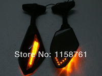 Front & Black LED Turn Signals Integrated Mirrors f Rearview For Suzuki GSXR SV650S SV650 Hayabusa Bandit Free shipping