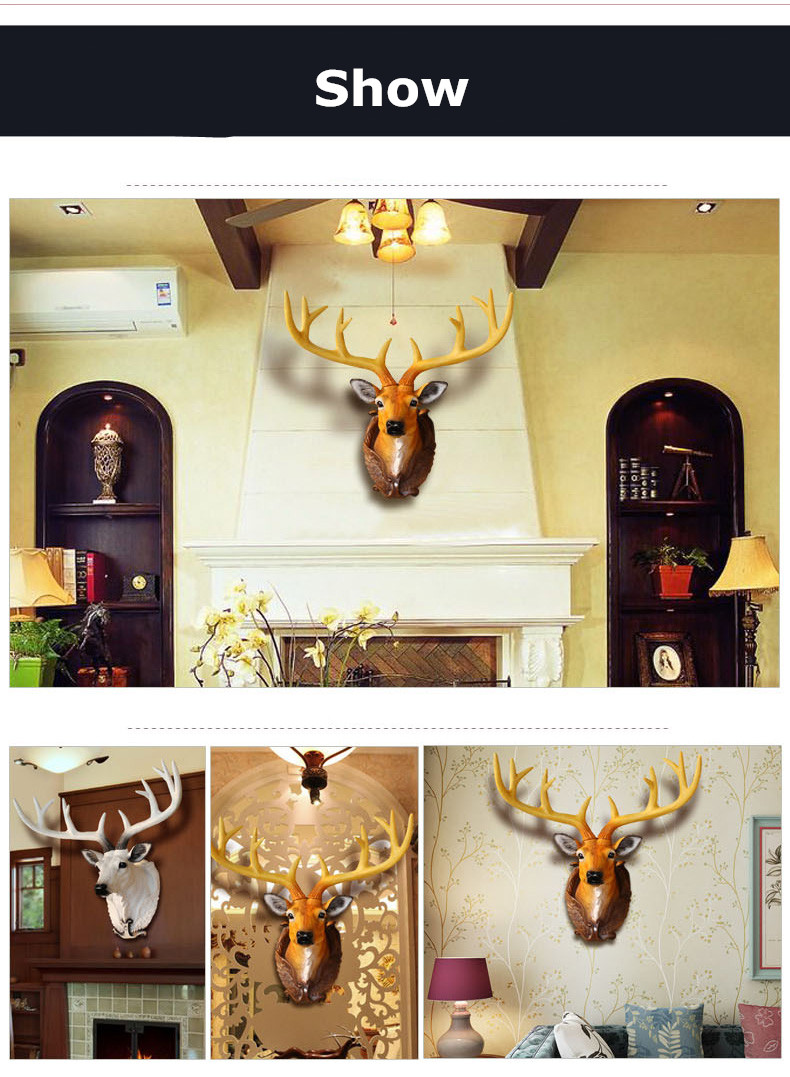 2018 NEW Simulation Deer Head Wall Decor Hanging American Bar ...