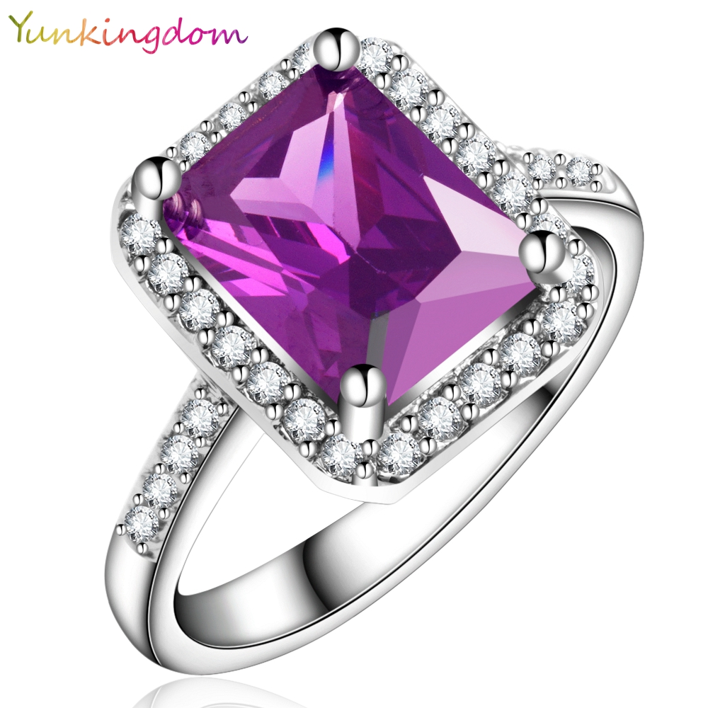 Yunkingdom NEW Square Design White Gold Color Ring Cubic Zirconia Wedding Rings Clothing ...
