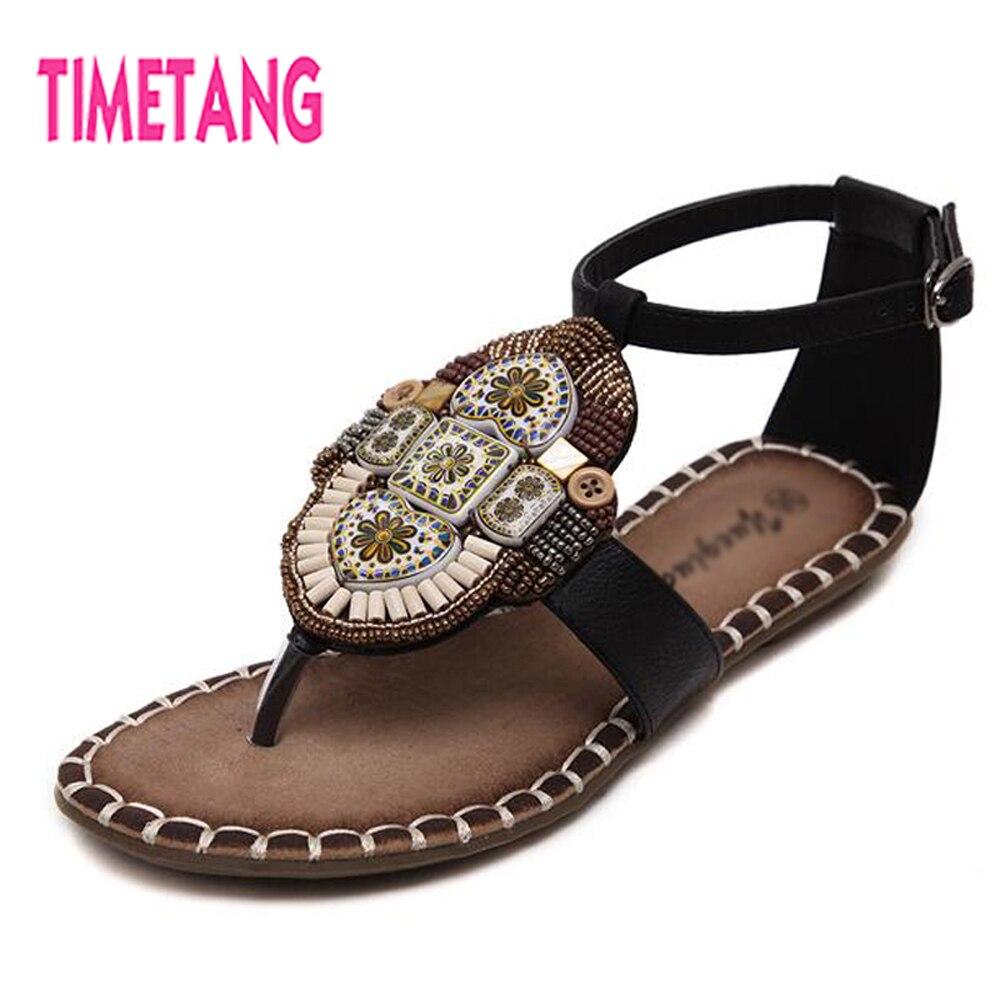 9554721065a19f TIMETANG Summer Sandals Vintage Bohemia String Bead Toepost Woman Thong Sandals  Comfortable Flat Heel Ethnic Women Shoes 2018