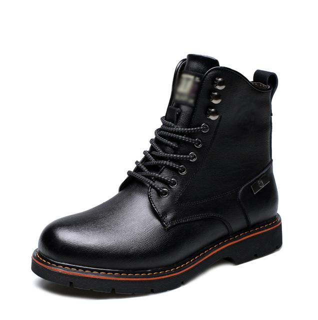 2017 Nueva Primavera y el Invierno Cálido Botas de Cuero Zapatos de Los Hombres Botas Martin