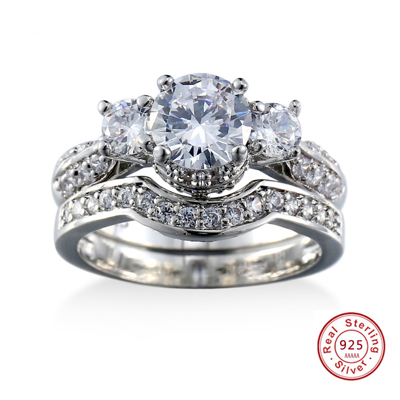 2 pcs/A Set Band silver Jewelry Simple Elegant 925 ...