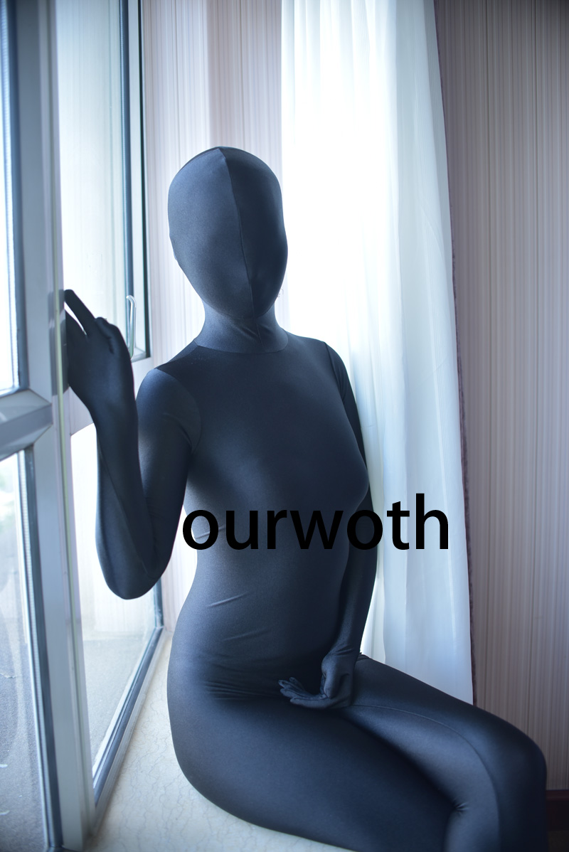 Black Spandex <font><b>Sexy</b></font> Tight Zentai Suit Fullbody Seamless Zentai Bodysuit Elasticity Spandex Zentai Custom Made image