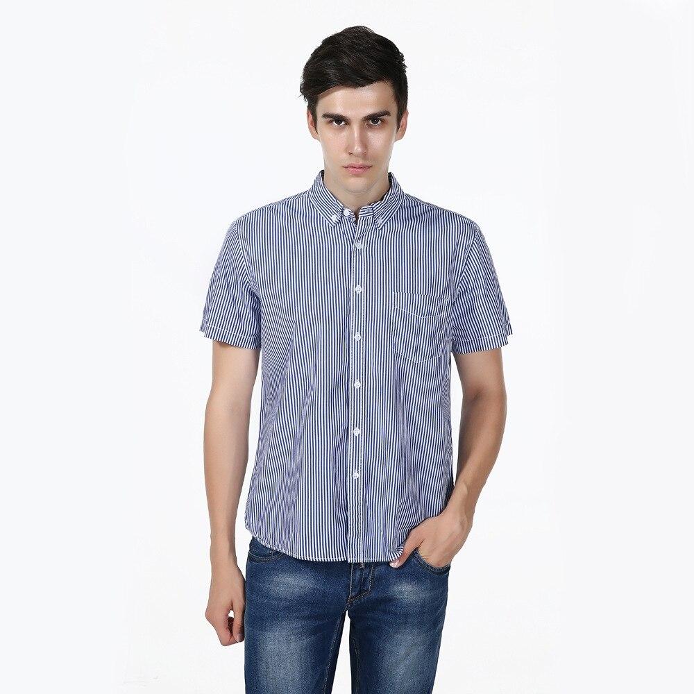 New Slim Fit Striped Blue Cotton Casual font b Shirt b font font b Men s