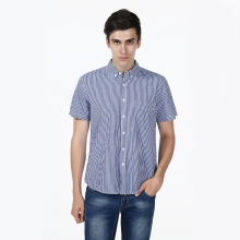 New Slim Fit Striped Blue Cotton Casual Shirt Men's Social Dress Shirt Short Sleeve Turn Down Collar Standard US Size