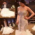 Real 2016 Luxuries Wedding Dresses Vintage Mermaid Feather Crystal By hand Lace Up Vestido De Noiva Lace Up Wedding Gown