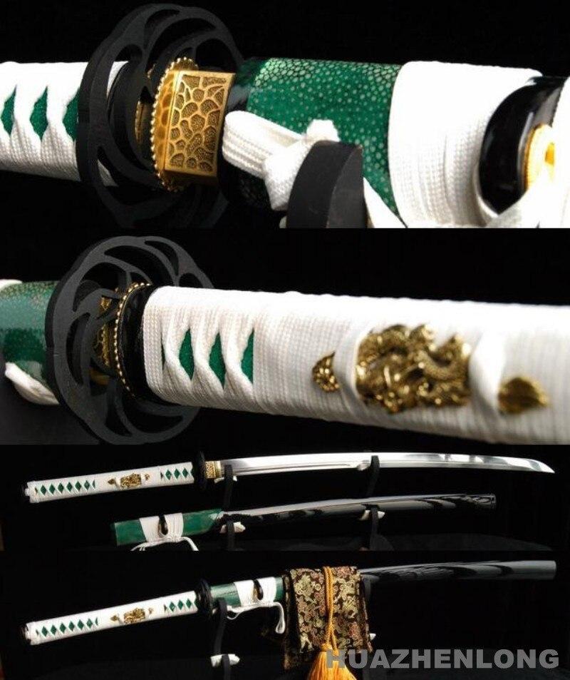 Unokubi Zukuri Blade Katana Japanese Samurai Sword 1095Carbon Steel Rayskin Saya