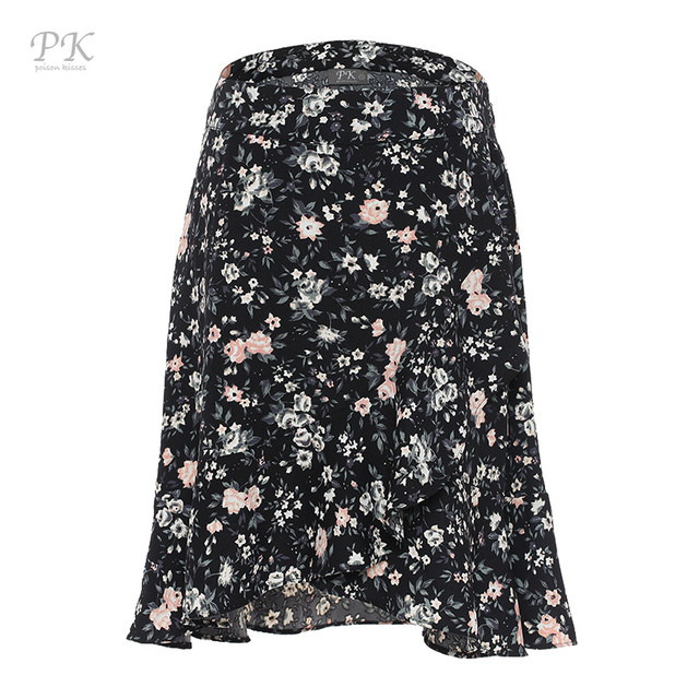2017 cotton black flora print women skirt jupe femme skirts womens faldas mujer saia midi women skirt girl vintage para