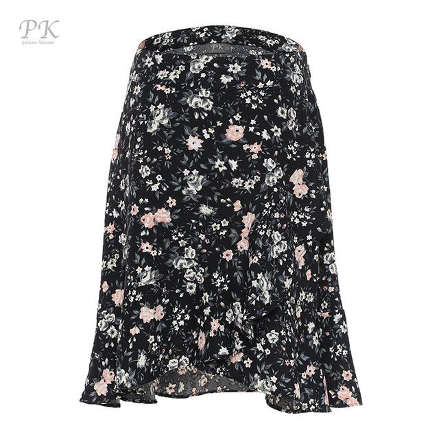 2017 cotton black flora print women skirt jupe femme skirts womens faldas mujer saia midi women skirt girl vintage para