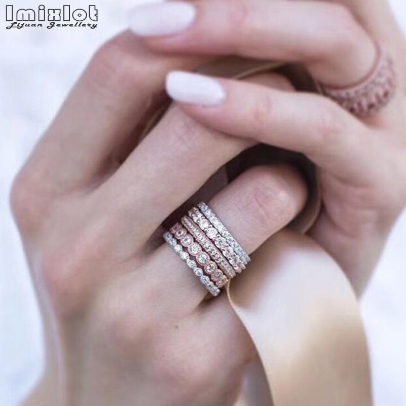5Pcs/set Women Wedding Jewelry Vintage Sparkly Rose Gold Crystal Rhinestone Stackable Rings Wholesale