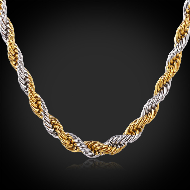 Gold Color Rope Chains For Men 2 Tone Necklace Trendy Men Jewelry ...
