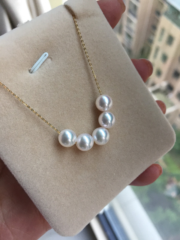 Women Gift word 925 Sterling silver real Permanent Akoya natural seawater pearl necklace 6 5 7 five mm round Pendant necklace in Bridal Jewelry Sets from Jewelry Accessories