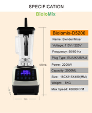 Automatic Digital Smart Timer Program 2200W Heavy Duty Power Blender Mixer Juicer  Food Processor Ice Smoothie Bar Fruit