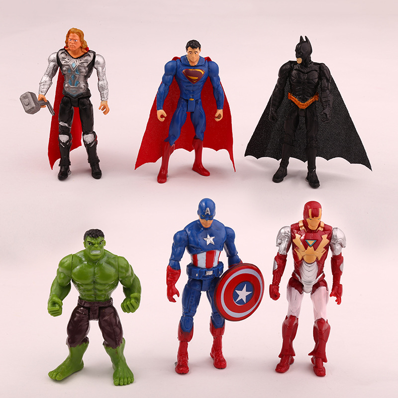 6Pcs/set The Avengers figures super hero toy 10cm Hulk Captain America superman batman thor Iron man model dolls kids toys