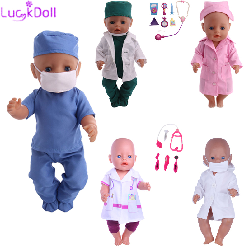 Cotton Doctor Cosplay Suit Fit 18 Inch American&43 CM Baby Doll Clothes Accessories,Girl's Toys,Generation,Birthday Gift