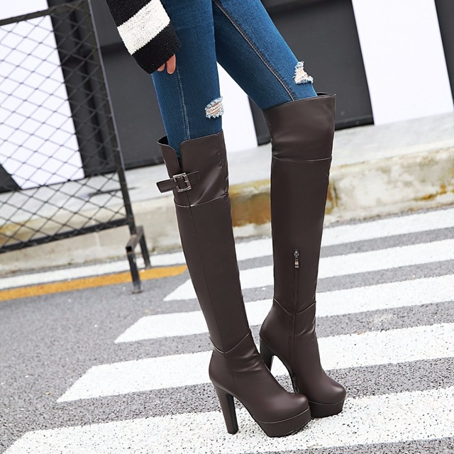 KEBEIORITY Spring Autumn Women Boots Over the Knee Sexy High Heels Thigh  High Leather Boots Black Brown Platform Women Shoes 0282e8064a