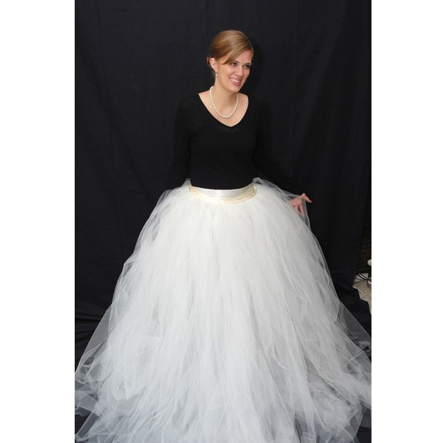 Fashion Long Female Tulle Skirt High Quality Puff Tulle Ball Gown ...