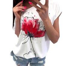 Shirt Women Casual Floral Print Short Sleeve Loose Top Tee