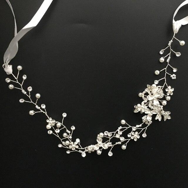 SLBRIDAL de cristal de oro rosa de diamantes de imitación de perlas, accesorios para el cabello de boda pelo diadema de vid diadema nupcial joyas de las damas de honor