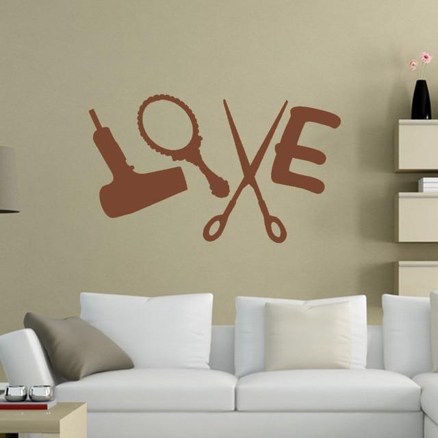 Hot Love Friseur Wandaufkleber Vinyl Aufkleber Trockner Schere Salon  Zeichen Schlafzimmer Wohnzimmer Diamant Ebene Artisitc Dekorationen
